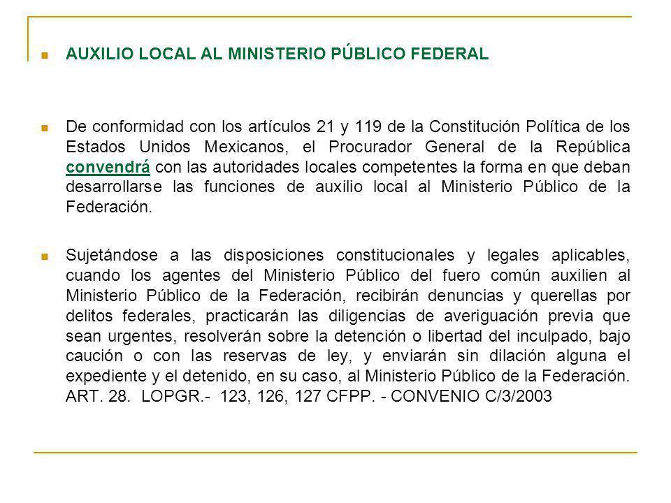 AUXILIO LOCAL AL MINISTERIO PÚBLICO FEDERAL De conformidad con los artículos 21 y 119 de la Constitución Política de los Estados Unidos Mexicanos, el