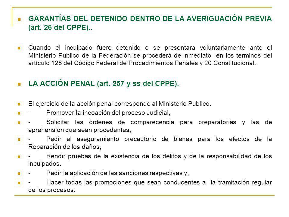 GARANTÍAS DEL DETENIDO DENTRO DE LA AVERIGUACIÓN PREVIA (art. 26 del CPPE).. Cuando el inculpado fuere detenido o se presentara voluntariamente ante e