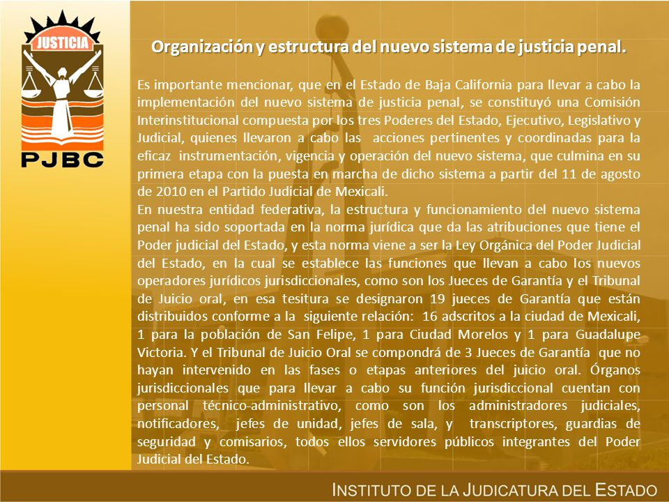 Organización y estructura del nuevo sistema de justicia penal.