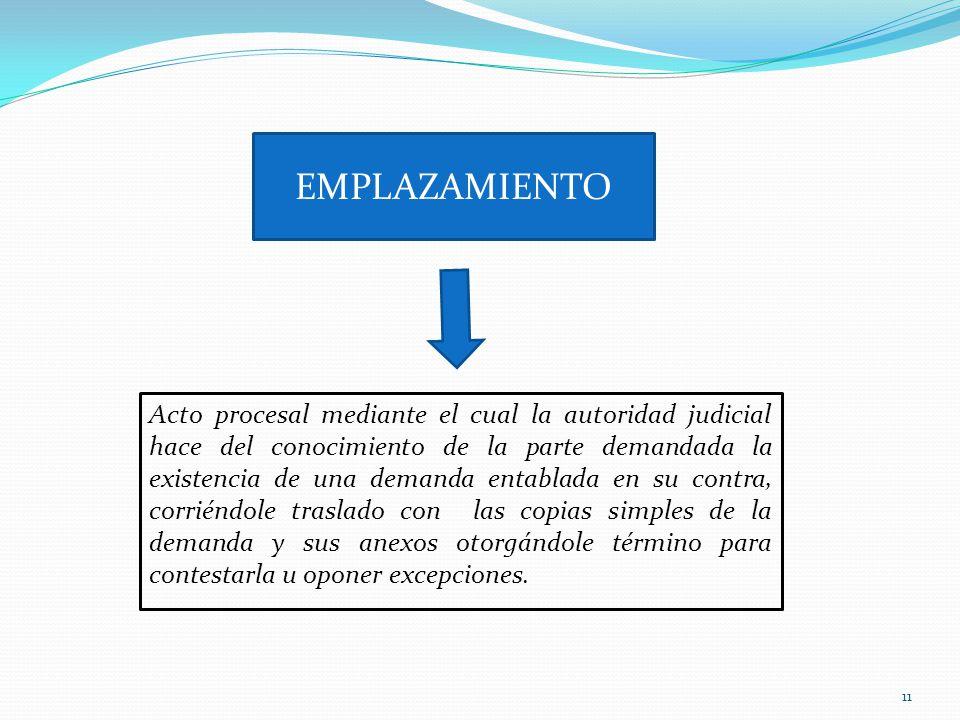 11 EMPLAZAMIENTO Acto procesal mediante el cual la autoridad judicial hace del conocimiento de la parte demandada la existencia de una demanda entabla