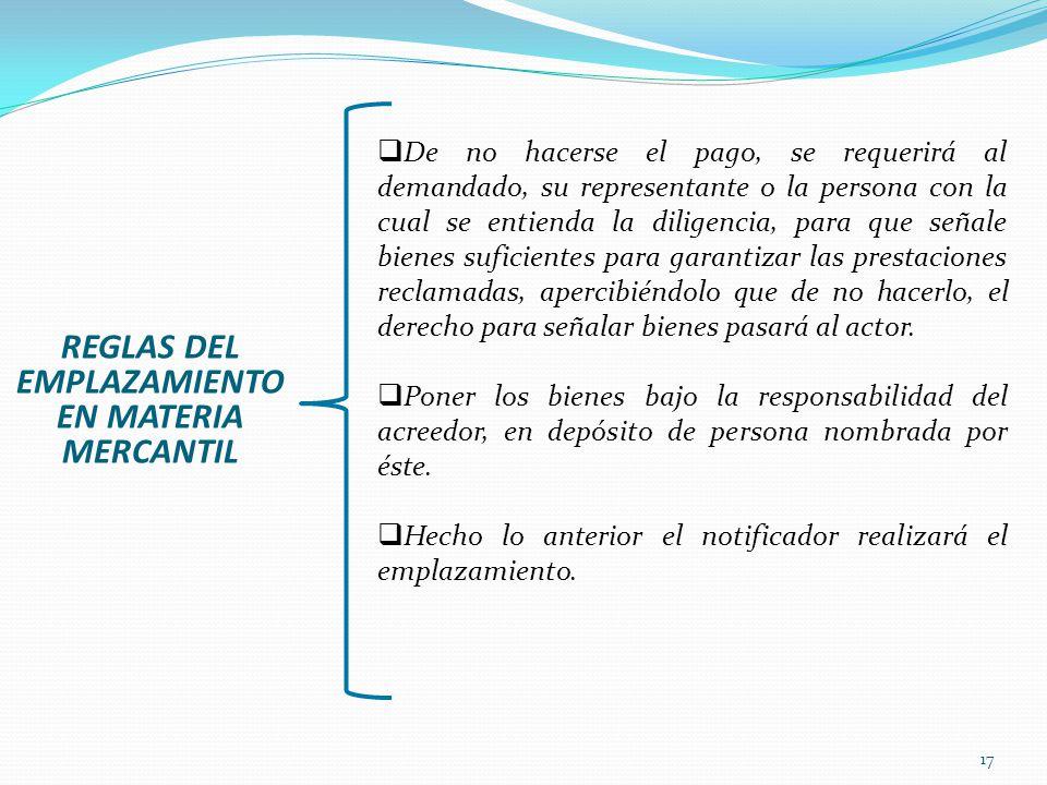 17 REGLAS DEL EMPLAZAMIENTO EN MATERIA MERCANTIL De no hacerse el pago, se requerirá al demandado, su representante o la persona con la cual se entien