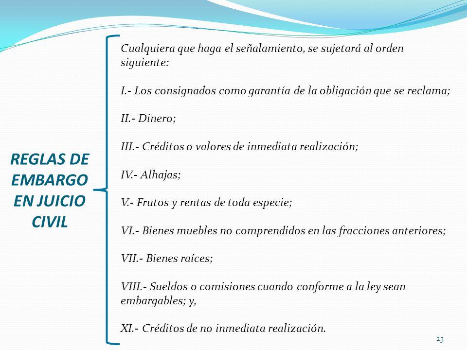 23 REGLAS DE EMBARGO EN JUICIO CIVIL Cualquiera que haga el señalamiento, se sujetará al orden siguiente: I.- Los consignados como garantía de la obli