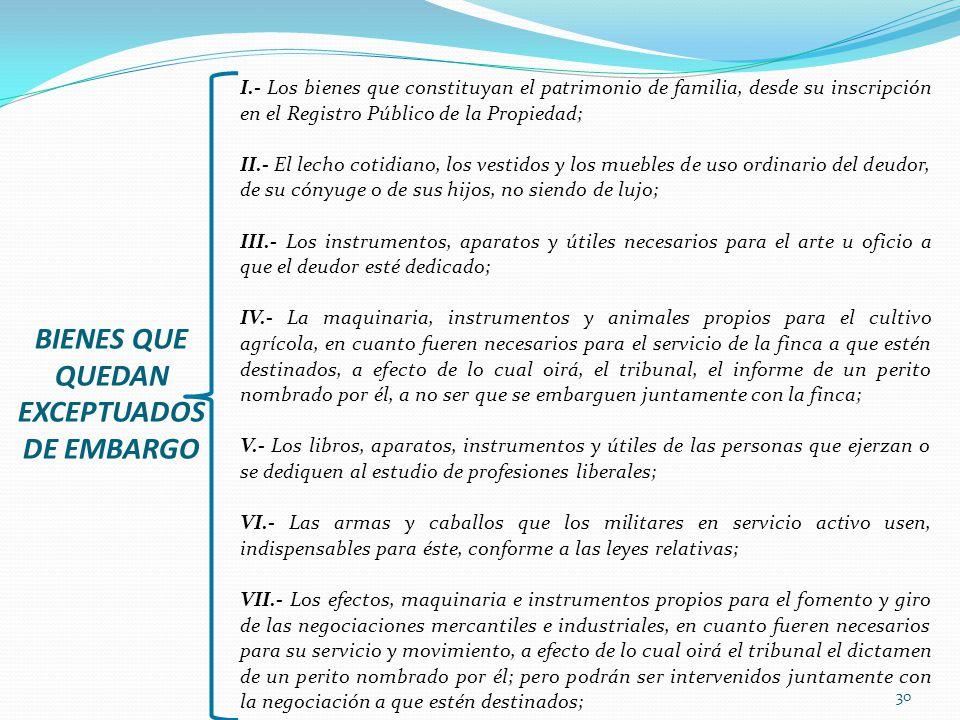 30 I.- Los bienes que constituyan el patrimonio de familia, desde su inscripción en el Registro Público de la Propiedad; II.- El lecho cotidiano, los