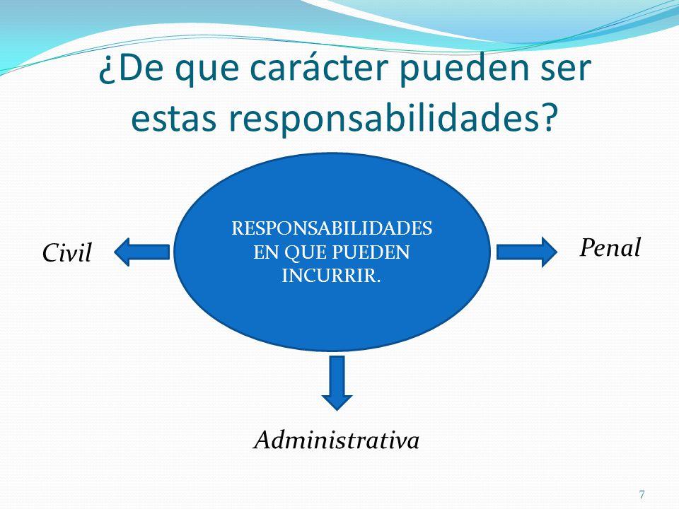 ¿De que carácter pueden ser estas responsabilidades? 7 RESPONSABILIDADES EN QUE PUEDEN INCURRIR. Administrativa Penal Civil