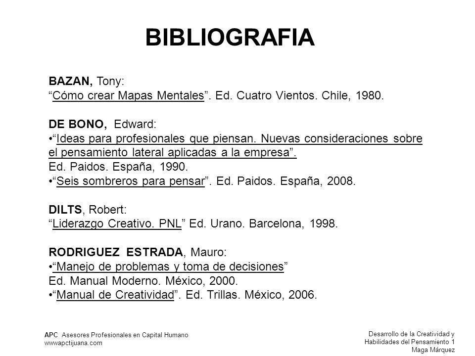 Desarrollo de la Creatividad y Habilidades del Pensamiento 1 Maga Márquez APC Asesores Profesionales en Capital Humano wwwapctijuana.com BIBLIOGRAFIA