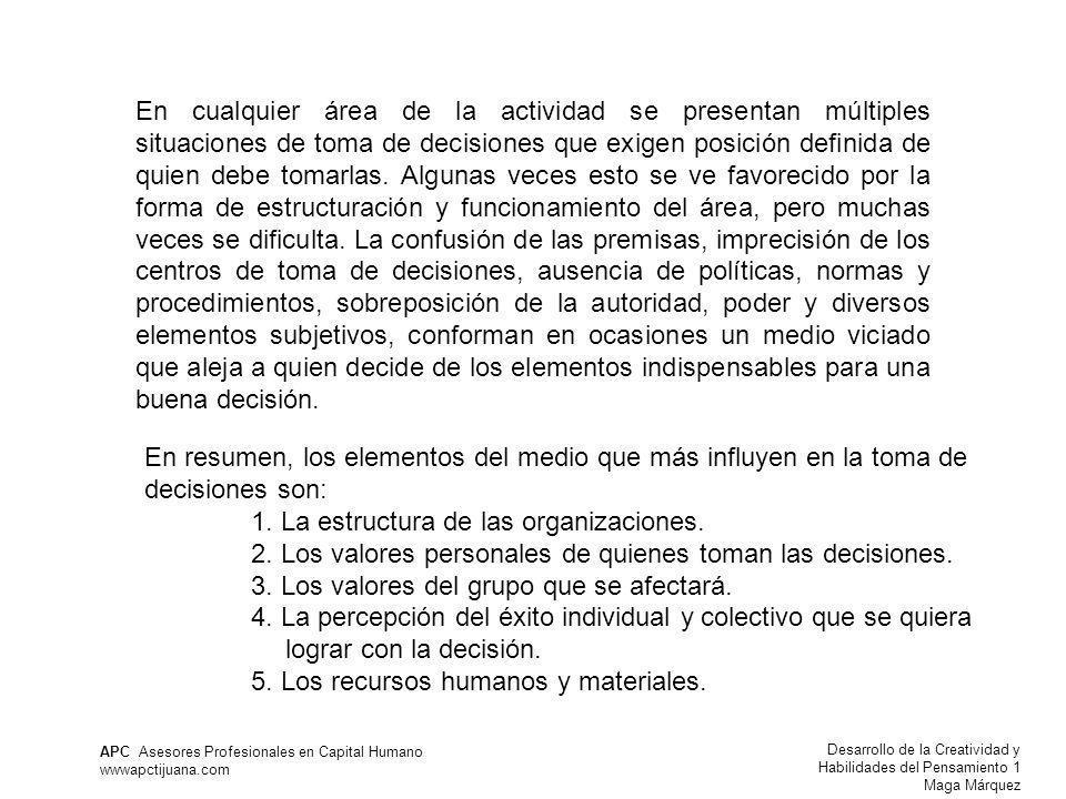 Desarrollo de la Creatividad y Habilidades del Pensamiento 1 Maga Márquez APC Asesores Profesionales en Capital Humano wwwapctijuana.com En cualquier