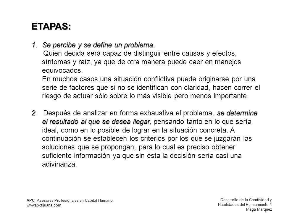 Desarrollo de la Creatividad y Habilidades del Pensamiento 1 Maga Márquez APC Asesores Profesionales en Capital Humano wwwapctijuana.com ETAPAS: 1.Se percibe y se define un problema.