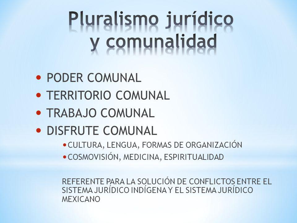 PODER COMUNAL TERRITORIO COMUNAL TRABAJO COMUNAL DISFRUTE COMUNAL CULTURA, LENGUA, FORMAS DE ORGANIZACIÓN COSMOVISIÓN, MEDICINA, ESPIRITUALIDAD REFERE
