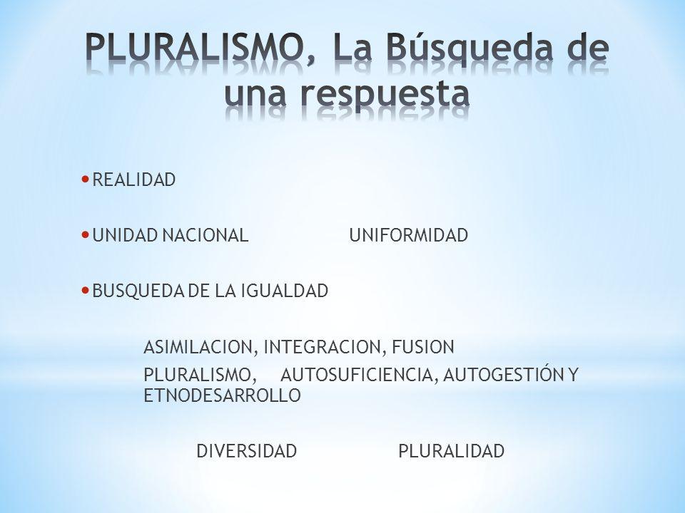 REALIDAD UNIDAD NACIONALUNIFORMIDAD BUSQUEDA DE LA IGUALDAD ASIMILACION, INTEGRACION, FUSION PLURALISMO, AUTOSUFICIENCIA, AUTOGESTIÓN Y ETNODESARROLLO