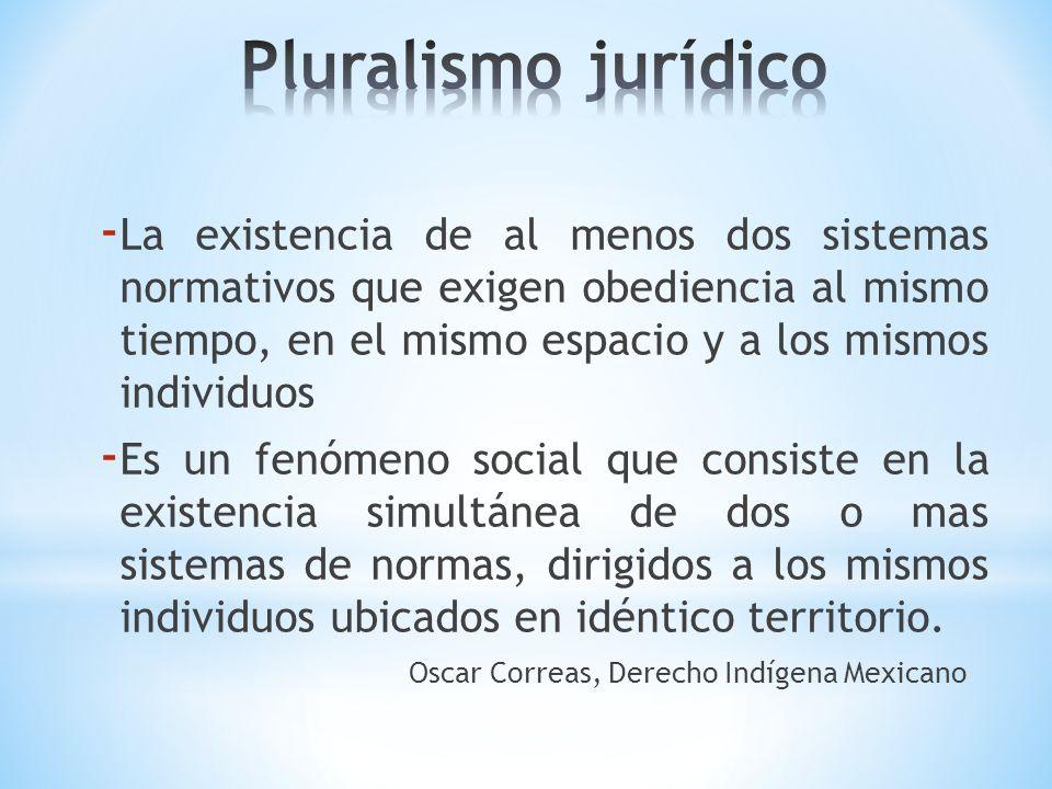 - La existencia de al menos dos sistemas normativos que exigen obediencia al mismo tiempo, en el mismo espacio y a los mismos individuos - Es un fenóm