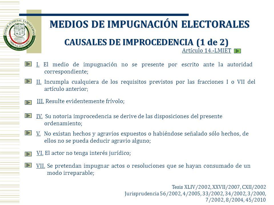 I.I. El medio de impugnación no se presente por escrito ante la autoridad correspondiente; II.II. Incumpla cualquiera de los requisitos previstos por