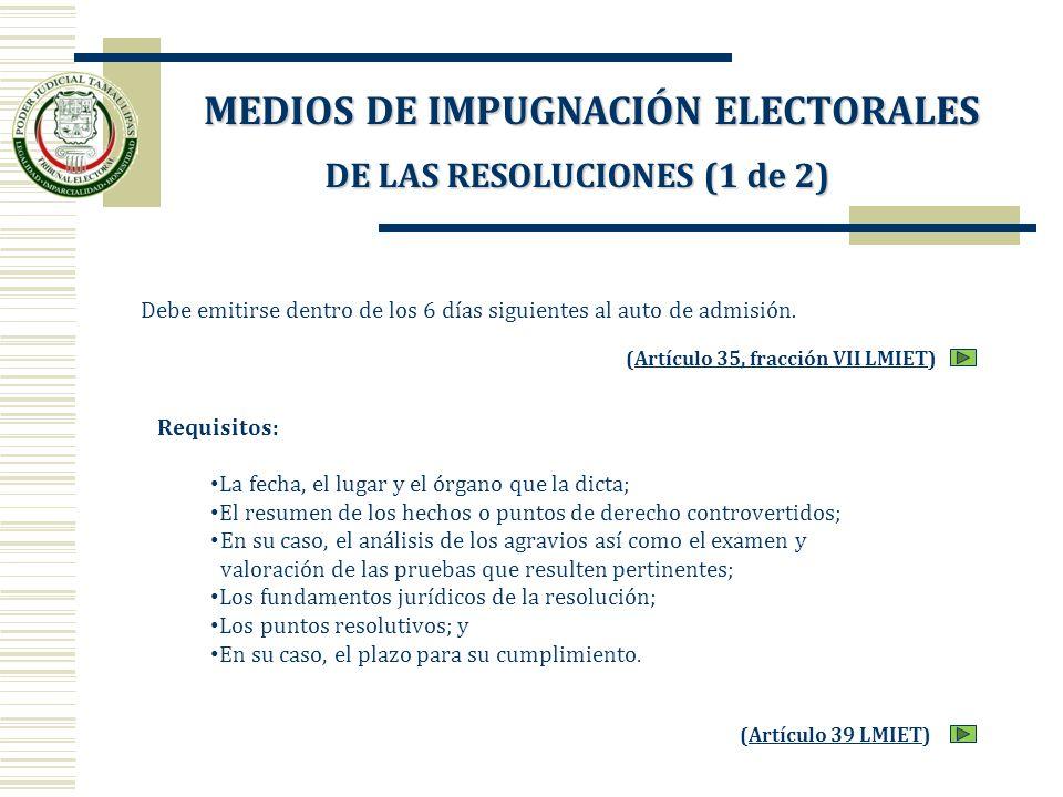 Debe emitirse dentro de los 6 días siguientes al auto de admisión. (Artículo 35, fracción VII LMIET)Artículo 35, fracción VII LMIET Requisitos: La fec