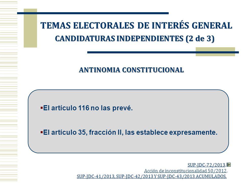 ANTINOMIA CONSTITUCIONAL El artículo 116 no las prevé. El artículo 35, fracción II, las establece expresamente. Acción de inconstitucionalidad 50/2012