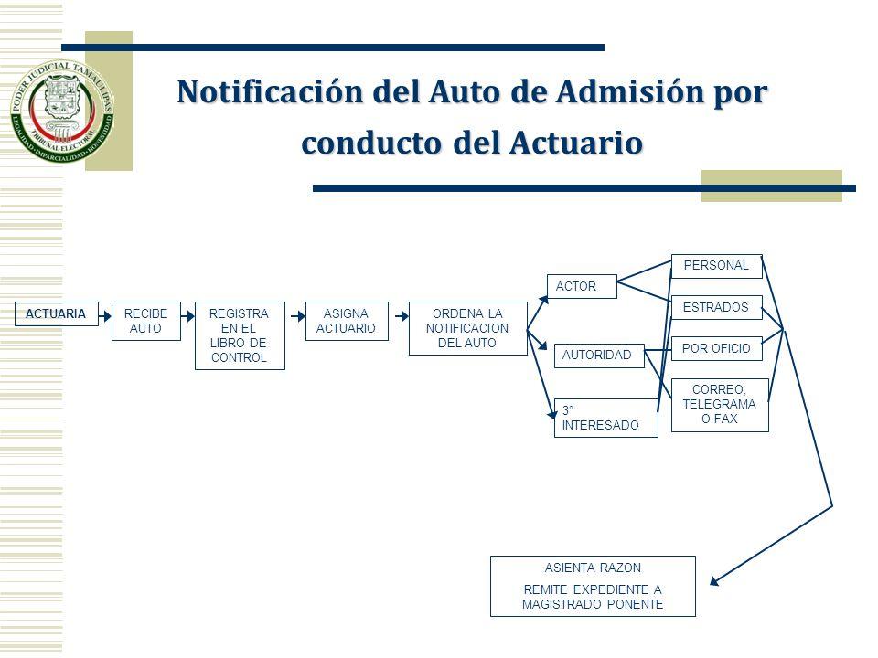 ACTUARIARECIBE AUTO REGISTRA EN EL LIBRO DE CONTROL ASIGNA ACTUARIO ORDENA LA NOTIFICACION DEL AUTO ACTOR AUTORIDAD PERSONAL ESTRADOS POR OFICIO CORRE