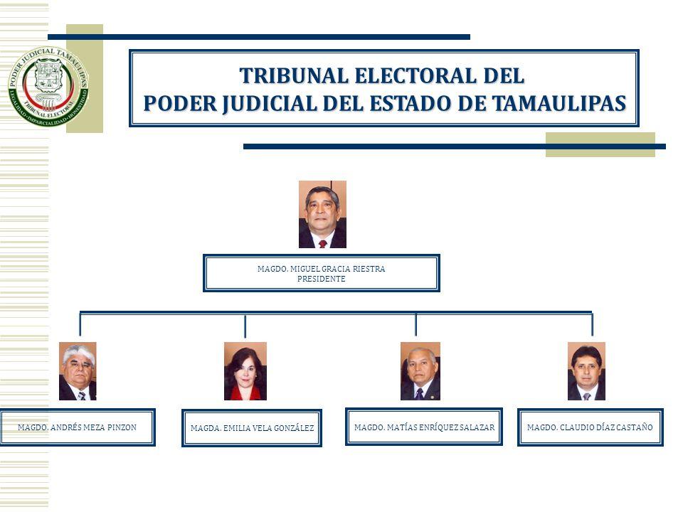TRIBUNAL ELECTORAL DEL PODER JUDICIAL DEL ESTADO DE TAMAULIPAS MAGDO. MIGUEL GRACIA RIESTRA PRESIDENTE MAGDA. EMILIA VELA GONZÁLEZ MAGDO. CLAUDIO DÍAZ