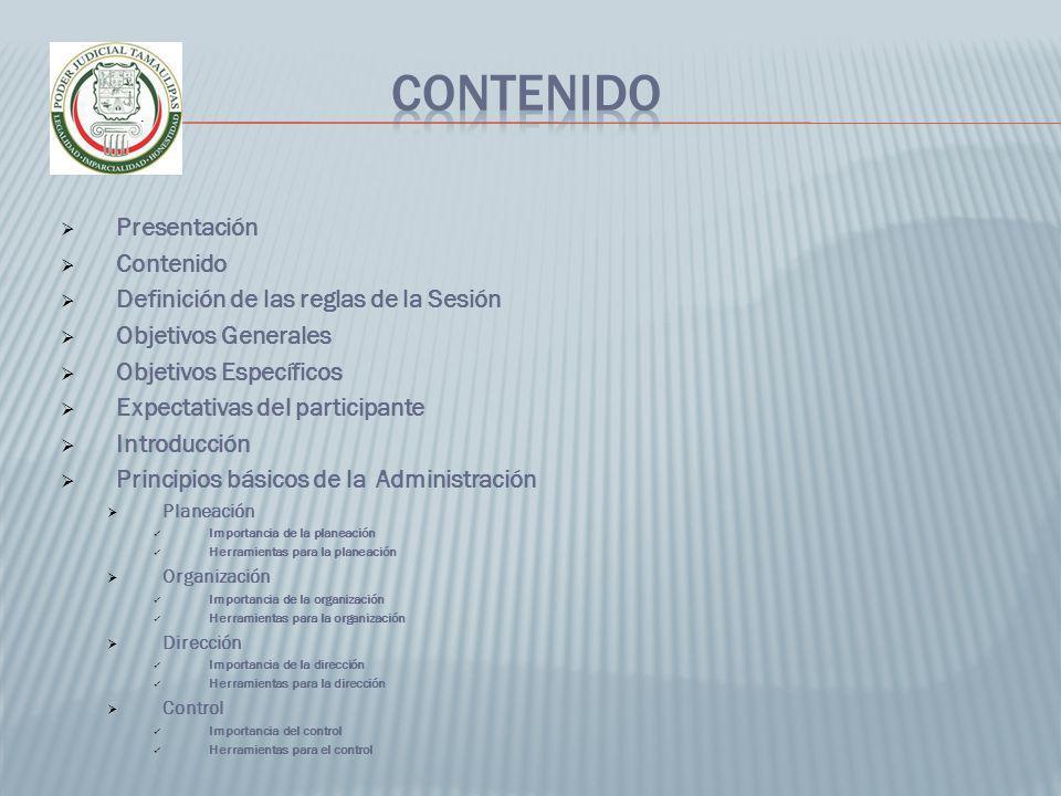 Presentación Contenido Definición de las reglas de la Sesión Objetivos Generales Objetivos Específicos Expectativas del participante Introducción Prin