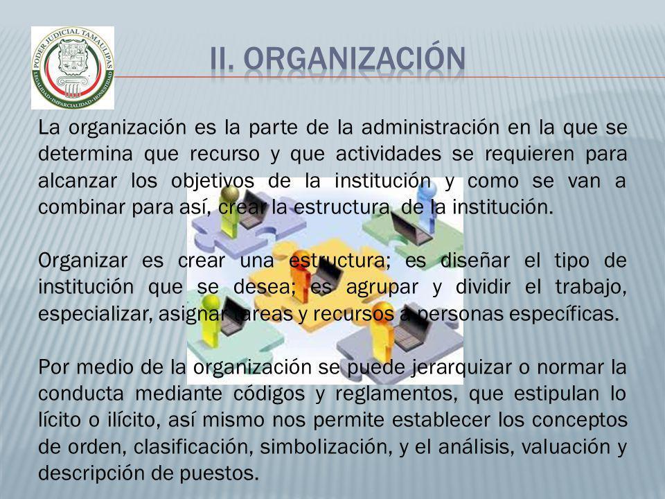 La organización es la parte de la administración en la que se determina que recurso y que actividades se requieren para alcanzar los objetivos de la i