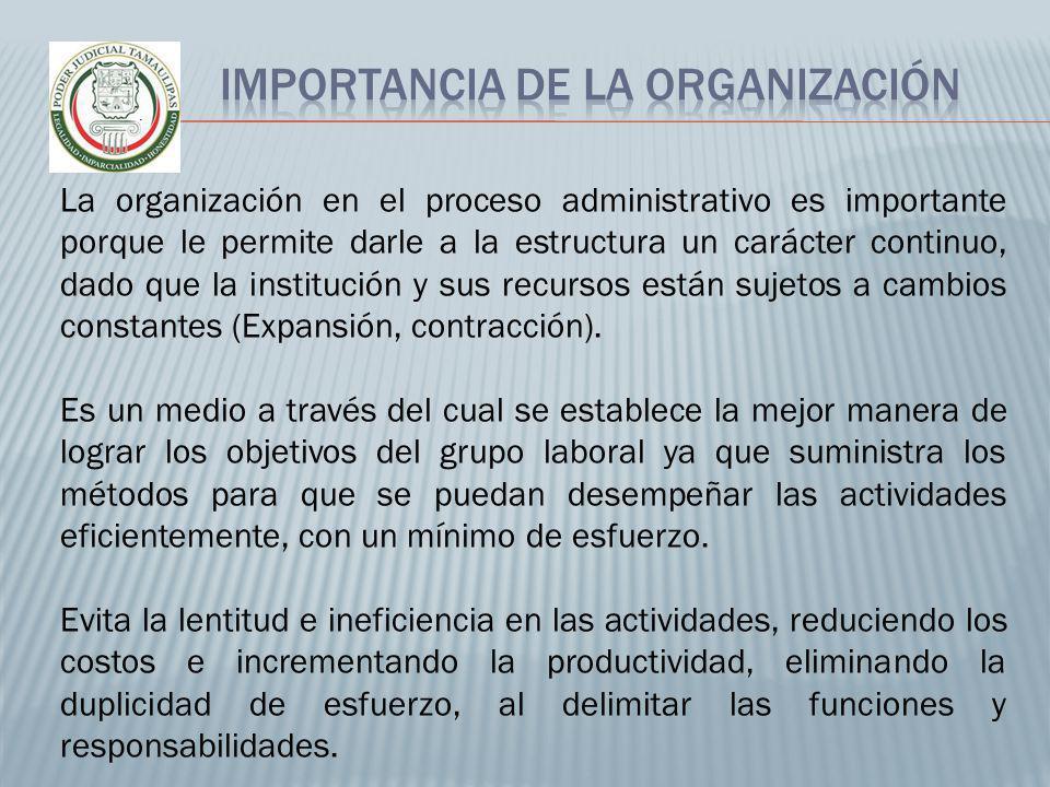 La organización en el proceso administrativo es importante porque le permite darle a la estructura un carácter continuo, dado que la institución y sus