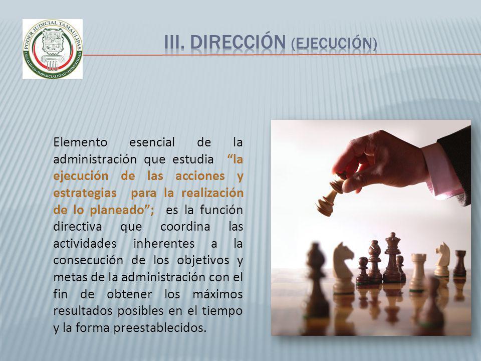 Elemento esencial de la administración que estudia la ejecución de las acciones y estrategias para la realización de lo planeado; es la función direct