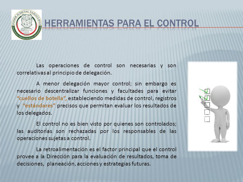 Las operaciones de control son necesarias y son correlativas al principio de delegación. A menor delegación mayor control; sin embargo es necesario de