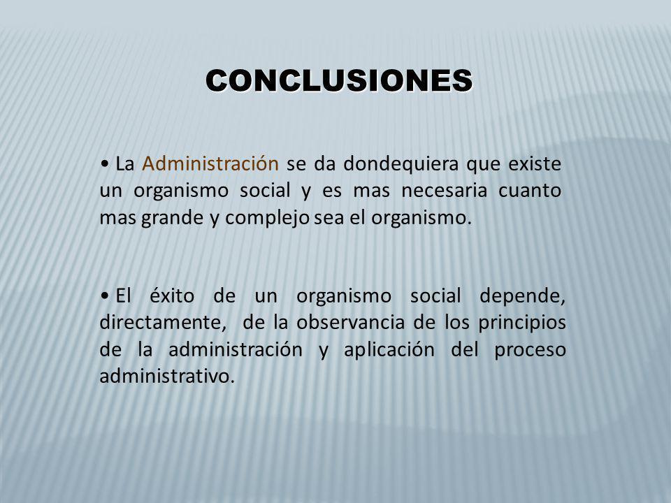 CONCLUSIONES CONCLUSIONES La Administración se da dondequiera que existe un organismo social y es mas necesaria cuanto mas grande y complejo sea el or