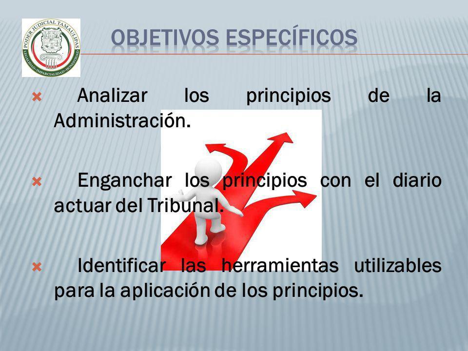 Analizar los principios de la Administración. Enganchar los principios con el diario actuar del Tribunal. Identificar las herramientas utilizables par