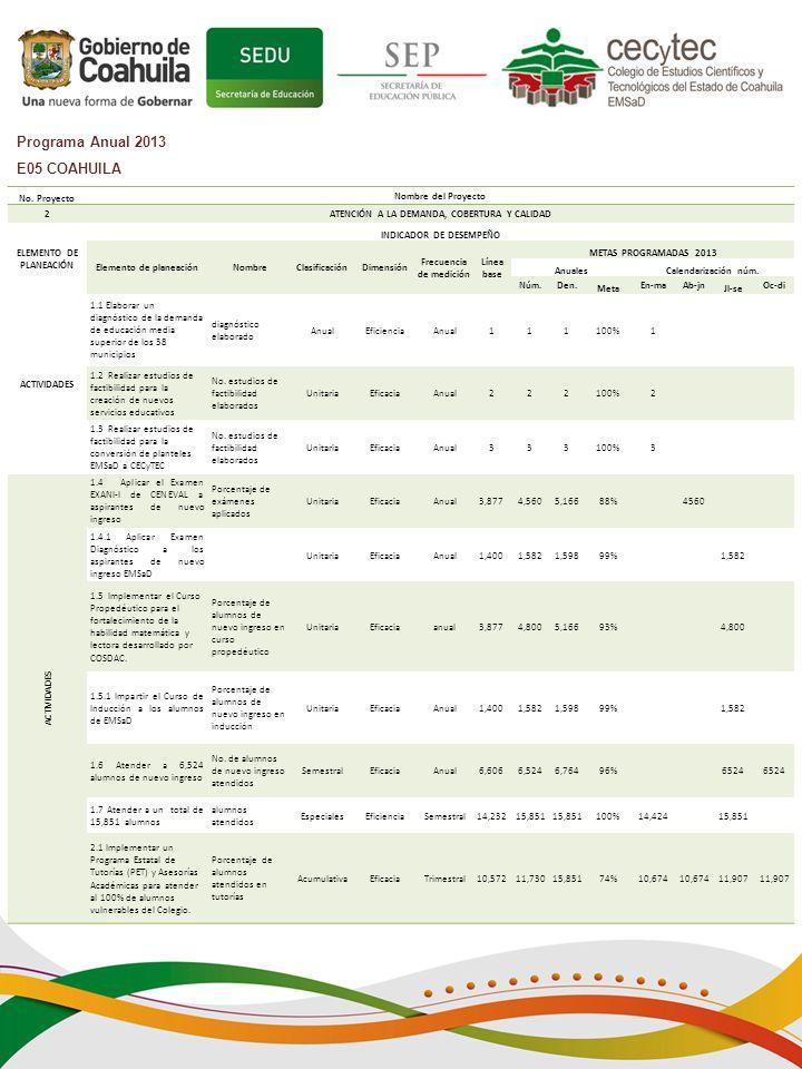 Programa Anual 2013 E05 COAHUILA No.