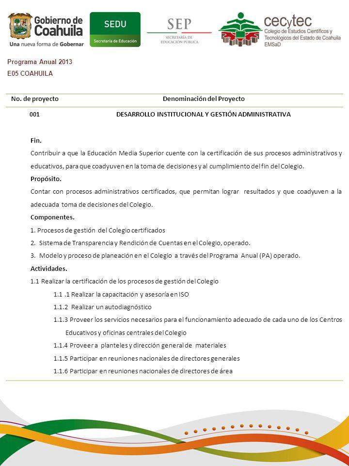 No.de proyectoDenominación del Proyecto 001DESARROLLO INSTITUCIONAL Y GESTIÓN ADMINISTRATIVA Fin.