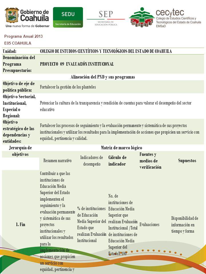 Programa Anual 2013 E05 COAHUILA Unidad:COLEGIO DE ESTUDIOS CIENTÍFICOS Y TECNOLÓGICOS DEL ESTADO DE COAHUILA Denominación del Programa Presupuestario: PROYECTO 09 EVALUACIÓN INSTITUCIONAL Alineación del PND y sus programas Objetivo de eje de política pública: Fortalecer la gestión de los planteles Objetivo Sectorial, Institucional, Especial o Regional: Potenciar la cultura de la transparencia y rendición de cuentas para valorar el desempeño del sector educativo Objetivo estratégico de las dependencias y entidades: Fortalecer los procesos de seguimiento y la evaluación permanente y sistemática de sus proyectos institucionales y utilizar los resultados para la implementación de acciones que propicien un servicio con equidad, pertinencia y calidad.