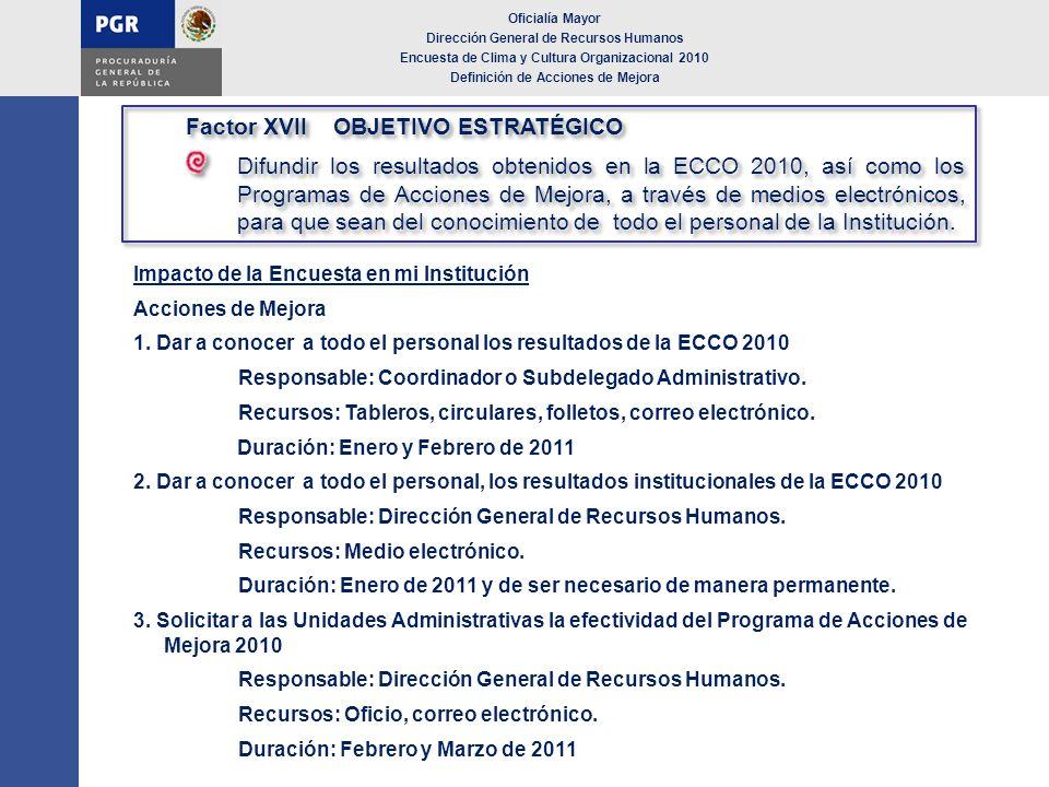 Impacto de la Encuesta en mi Institución Acciones de Mejora 1. Dar a conocer a todo el personal los resultados de la ECCO 2010 Responsable: Coordinado