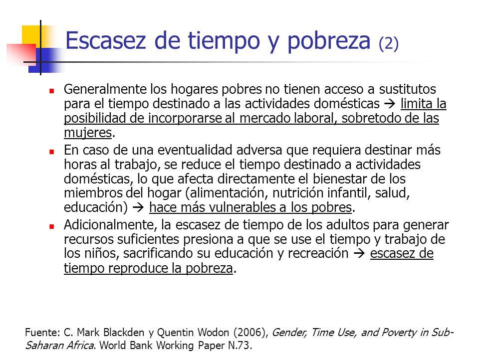 Escasez de tiempo y pobreza (2) Generalmente los hogares pobres no tienen acceso a sustitutos para el tiempo destinado a las actividades domésticas limita la posibilidad de incorporarse al mercado laboral, sobretodo de las mujeres.