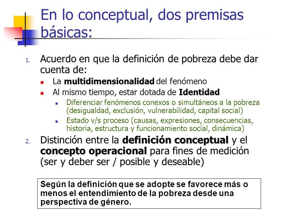 En lo conceptual, dos premisas básicas: 1. Acuerdo en que la definición de pobreza debe dar cuenta de: multidimensionalidad La multidimensionalidad de