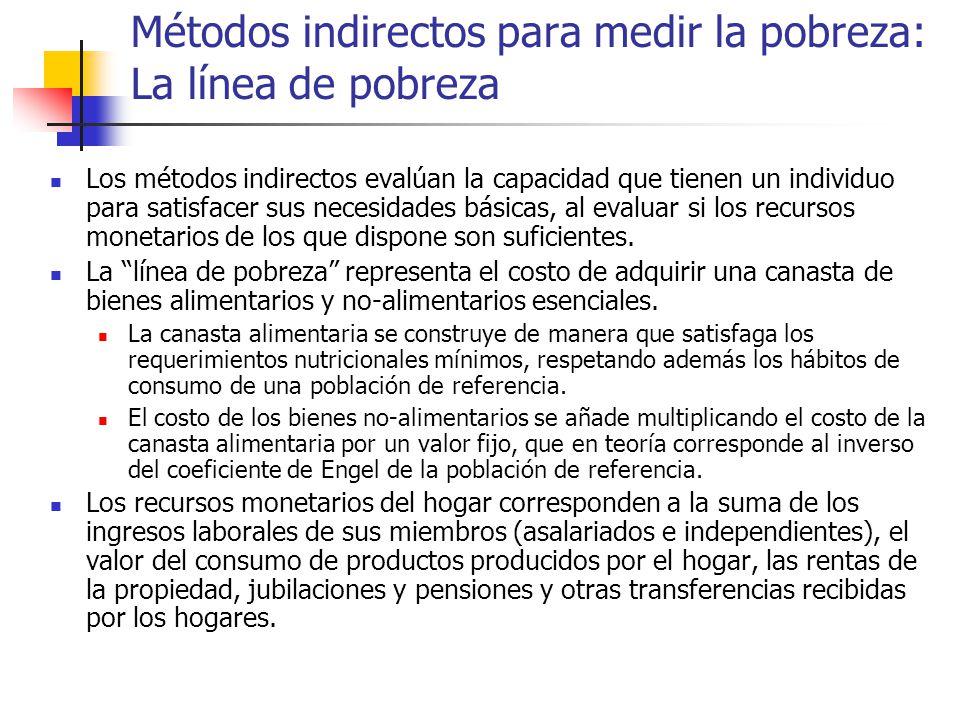 Métodos indirectos para medir la pobreza: La línea de pobreza Los métodos indirectos evalúan la capacidad que tienen un individuo para satisfacer sus necesidades básicas, al evaluar si los recursos monetarios de los que dispone son suficientes.