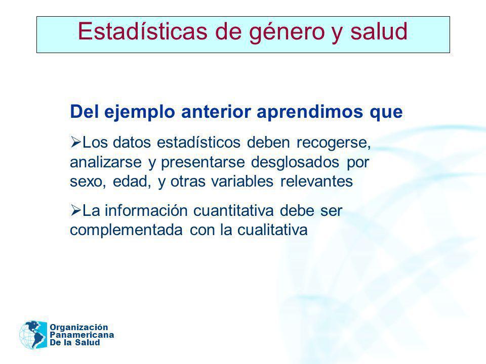 Organización Panamericana De la Salud 2005 Estadísticas de género y salud Del ejemplo anterior aprendimos que Los datos estadísticos deben recogerse,