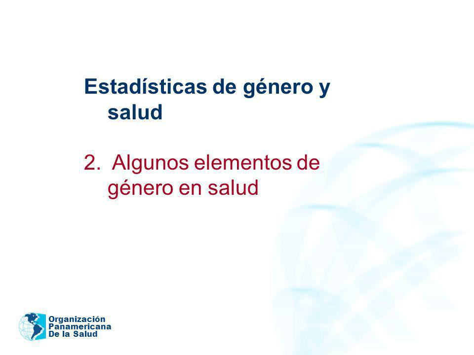 Organización Panamericana De la Salud Estadísticas de género y salud 2. Algunos elementos de género en salud 2005
