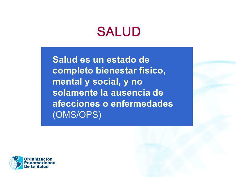 Organización Panamericana De la Salud SALUD Salud es un estado de completo bienestar físico, mental y social, y no solamente la ausencia de afecciones