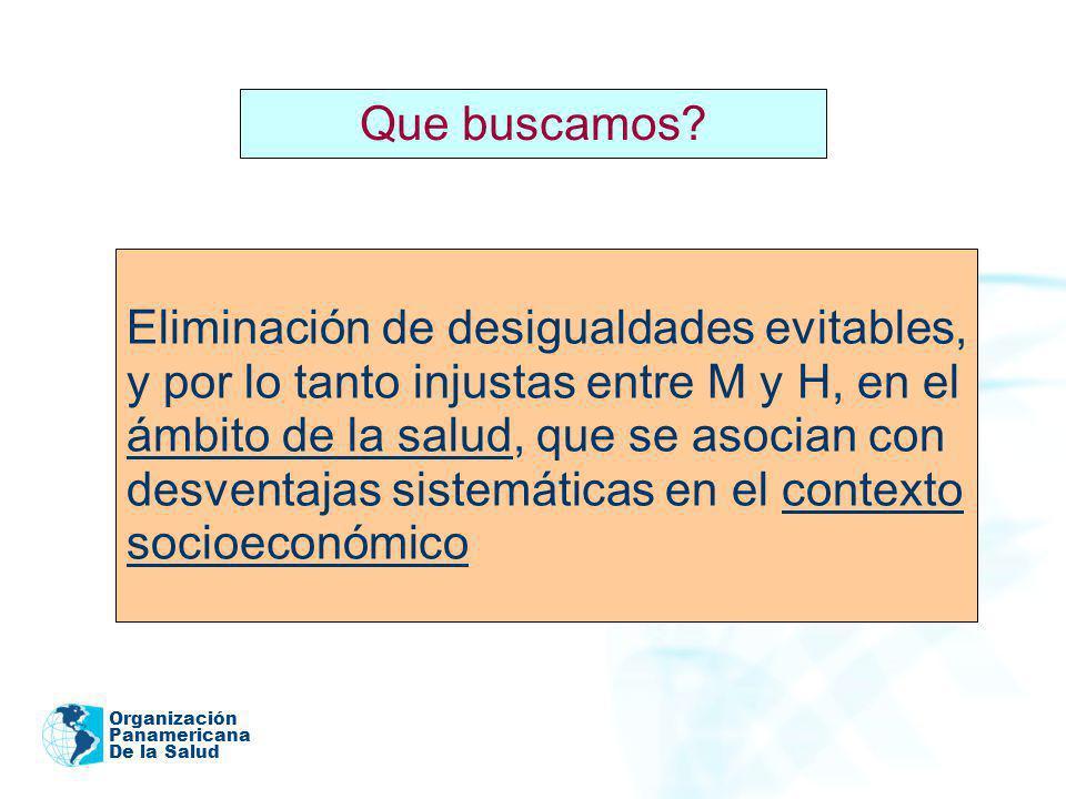 Organización Panamericana De la Salud Eliminación de desigualdades evitables, y por lo tanto injustas entre M y H, en el ámbito de la salud, que se as