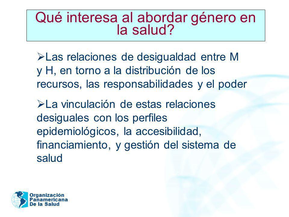Organización Panamericana De la Salud Las relaciones de desigualdad entre M y H, en torno a la distribución de los recursos, las responsabilidades y e