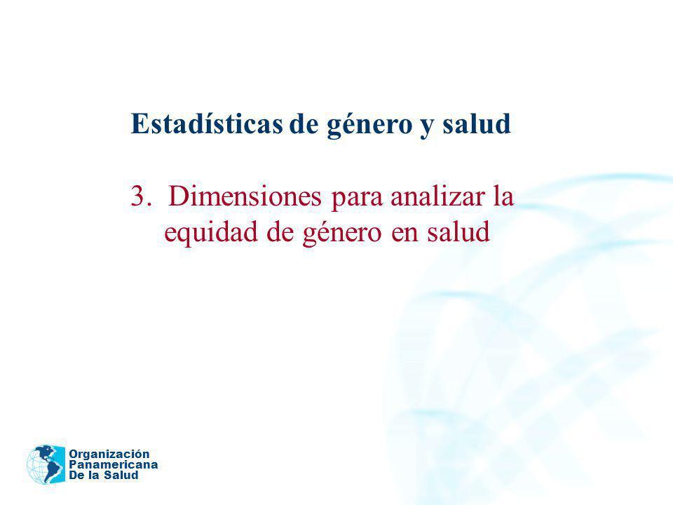 Organización Panamericana De la Salud Estadísticas de género y salud 3. Dimensiones para analizar la equidad de género en salud 2005