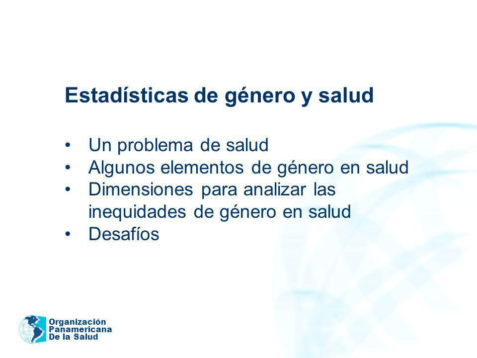 Organización Panamericana De la Salud Estadísticas de género y salud Un problema de salud Algunos elementos de género en salud Dimensiones para analiz