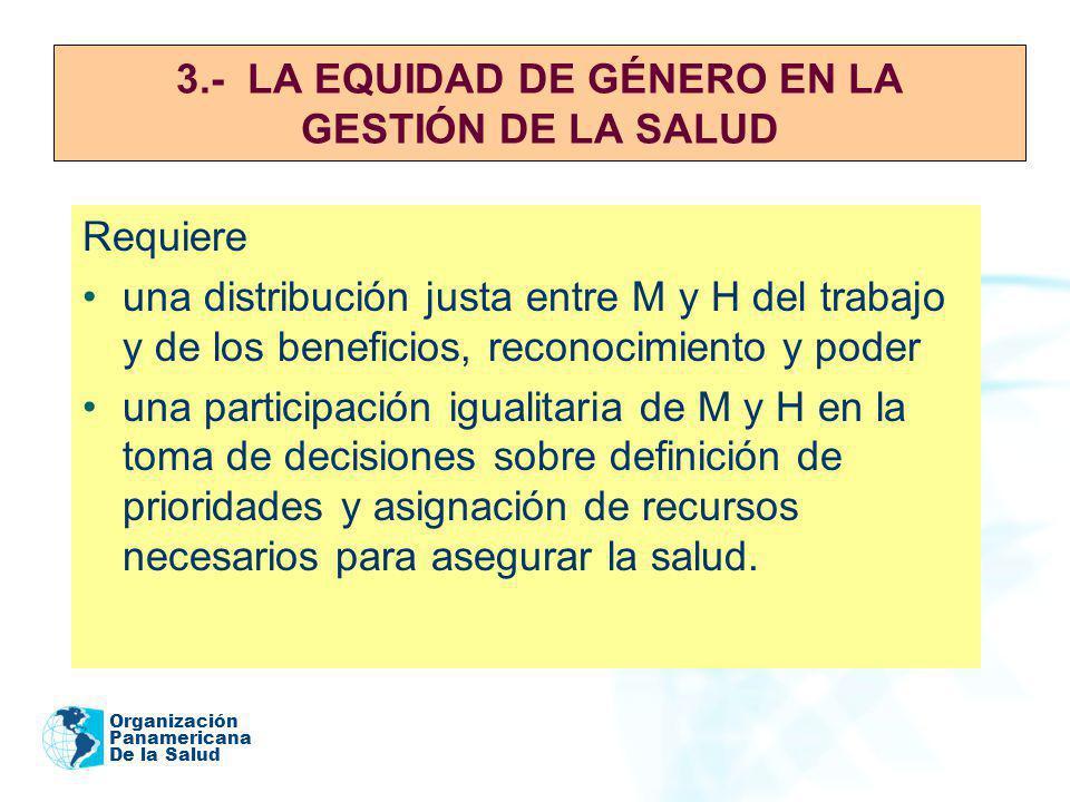 Organización Panamericana De la Salud 3.- LA EQUIDAD DE GÉNERO EN LA GESTIÓN DE LA SALUD Requiere una distribución justa entre M y H del trabajo y de