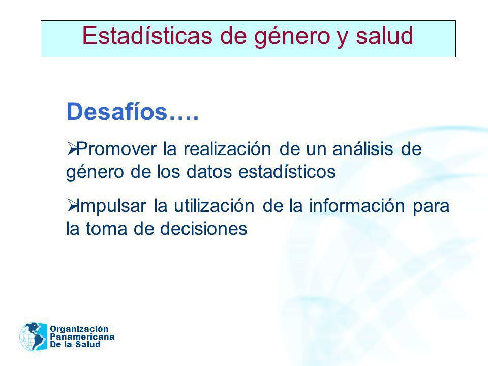 Organización Panamericana De la Salud 2005 Estadísticas de género y salud Desafíos…. Promover la realización de un análisis de género de los datos est