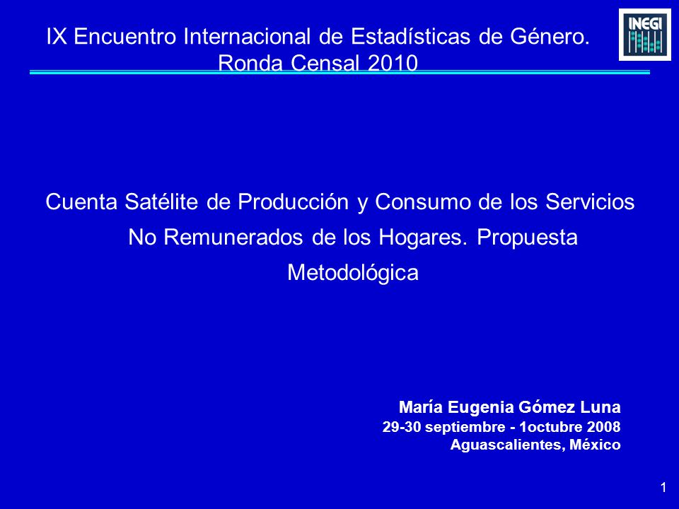 1 IX Encuentro Internacional de Estadísticas de Género.