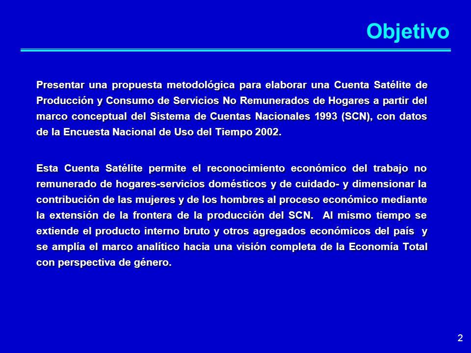 2 Objetivo Presentar una propuesta metodológica para elaborar una Cuenta Satélite de Producción y Consumo de Servicios No Remunerados de Hogares a partir del marco conceptual del Sistema de Cuentas Nacionales 1993 (SCN), con datos de la Encuesta Nacional de Uso del Tiempo 2002.