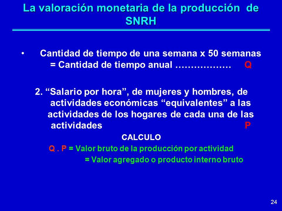 24 La valoración monetaria de la producción de SNRH Cantidad de tiempo de una semana x 50 semanas = Cantidad de tiempo anual ……………… Q 2.