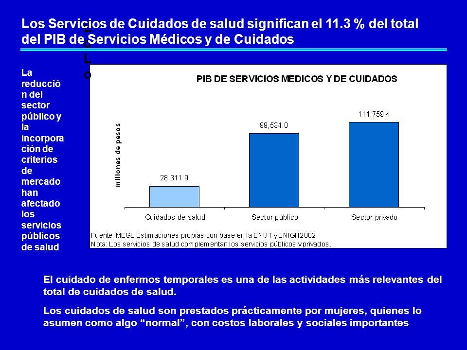 LoLoLoLo Los Servicios de Cuidados de salud significan el 11.3 % del total del PIB de Servicios Médicos y de Cuidados El cuidado de enfermos temporales es una de las actividades más relevantes del total de cuidados de salud.