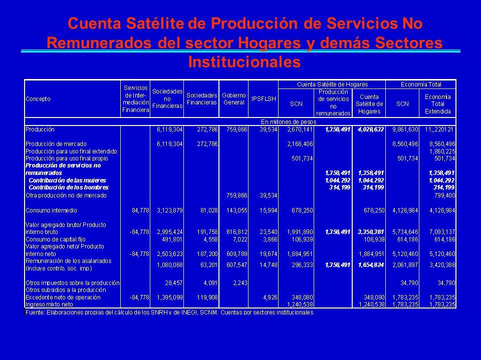 Cuenta Satélite de Producción de Servicios No Remunerados del sector Hogares y demás Sectores Institucionales