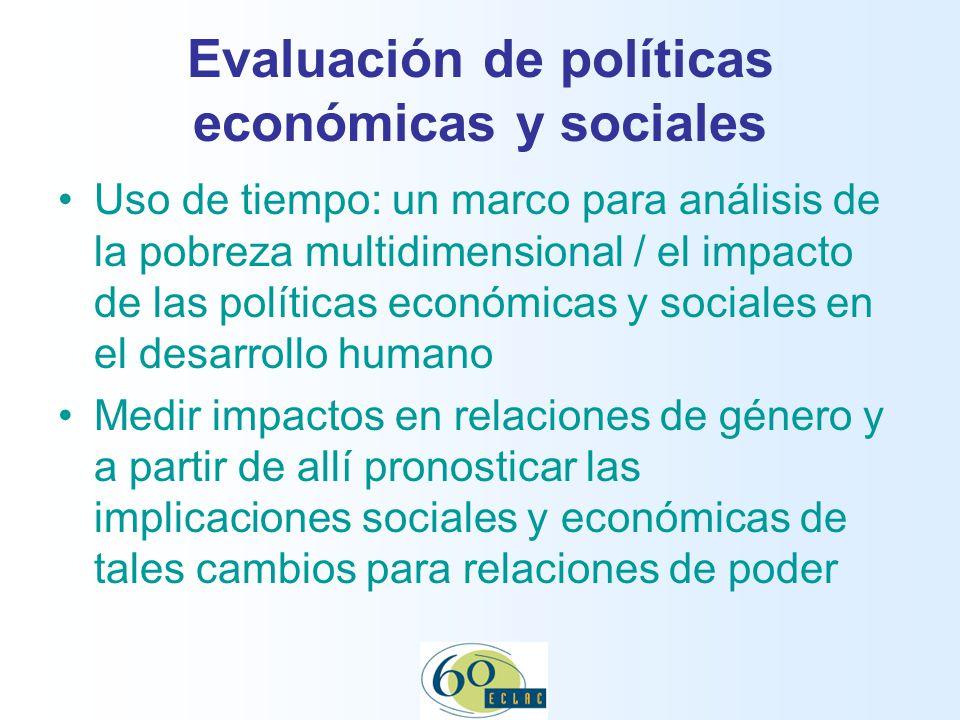 Evaluación de políticas económicas y sociales Uso de tiempo: un marco para análisis de la pobreza multidimensional / el impacto de las políticas económicas y sociales en el desarrollo humano Medir impactos en relaciones de género y a partir de allí pronosticar las implicaciones sociales y económicas de tales cambios para relaciones de poder