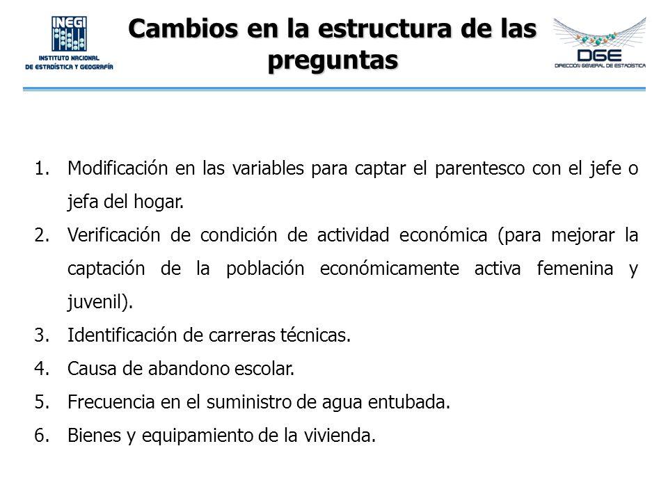 1.Modificación en las variables para captar el parentesco con el jefe o jefa del hogar. 2.Verificación de condición de actividad económica (para mejor