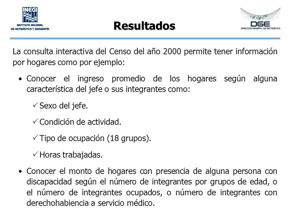 Resultados La consulta interactiva del Censo del año 2000 permite tener información por hogares como por ejemplo: Conocer el ingreso promedio de los hogares según alguna característica del jefe o sus integrantes como: Sexo del jefe.